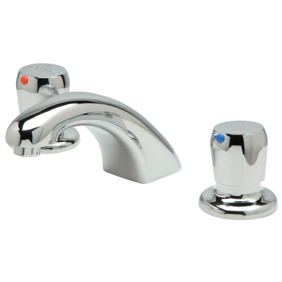 https www lowes com pd zurn aquaspec 174 metering faucet 8 in widespread deck mount with 1 0 gpm aerator 5 in spout push button handles chrome 1003246430