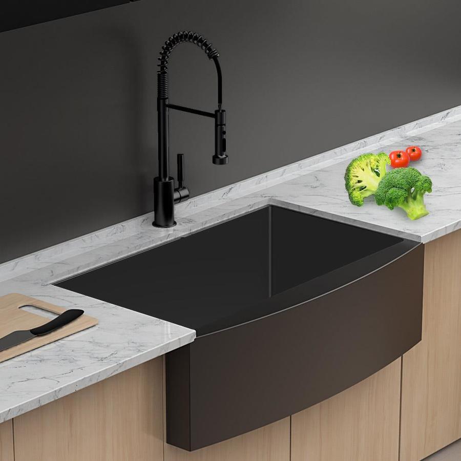 lordear apron front stainless steel kitchen sink farmhouse apron front 36 in x 21 in matte black single bowl workstation kitchen sink