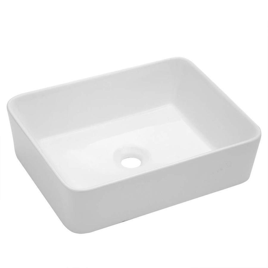 lordear porcelain vanity sink white ceramic vessel rectangular bathroom sink 16 in x 12 in