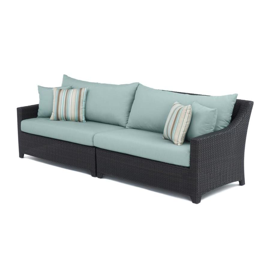 rst brands deco wicker outdoor sofa with cushion s and bliss blue aluminum frame