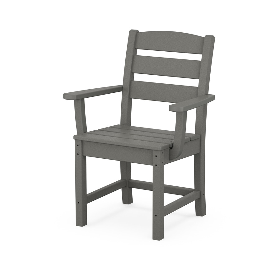 polywood lakeside stackable slate grey plastic frame stationary dining chair s with slat seat seat lowes com