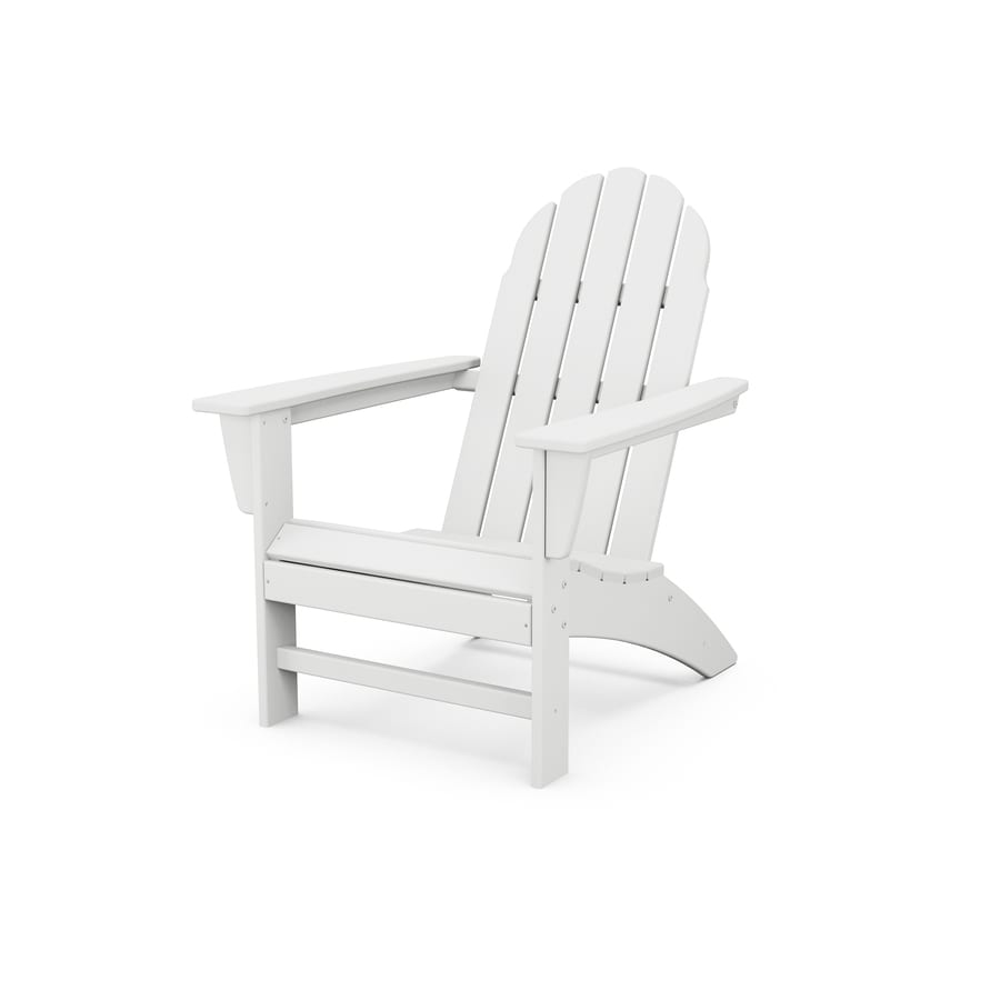 trex outdoor furniture seaport classic white plastic frame stationary adirondack chair s with slat seat seat
