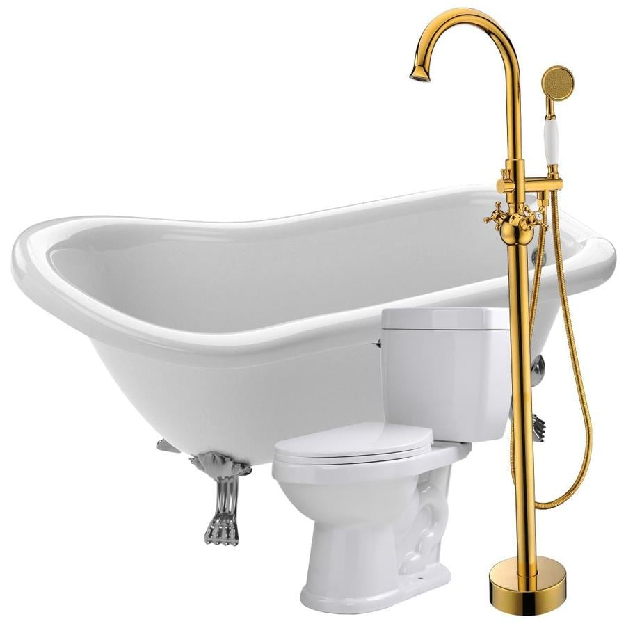 anzzi pegasus 66 93 in white acrylic oval center drain clawfoot bathtub with faucet included in the bathtubs department at lowes com