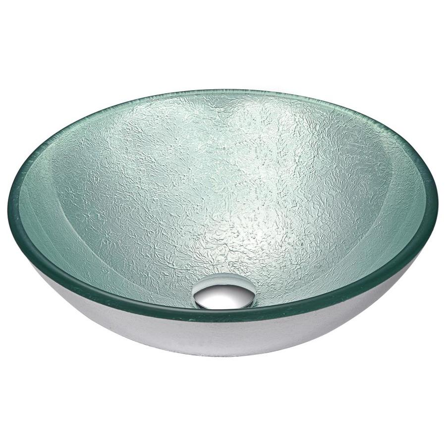 anzzi komupau churning silver tempered glass vessel round bathroom sink drain included 16 5 in x 16 5 in
