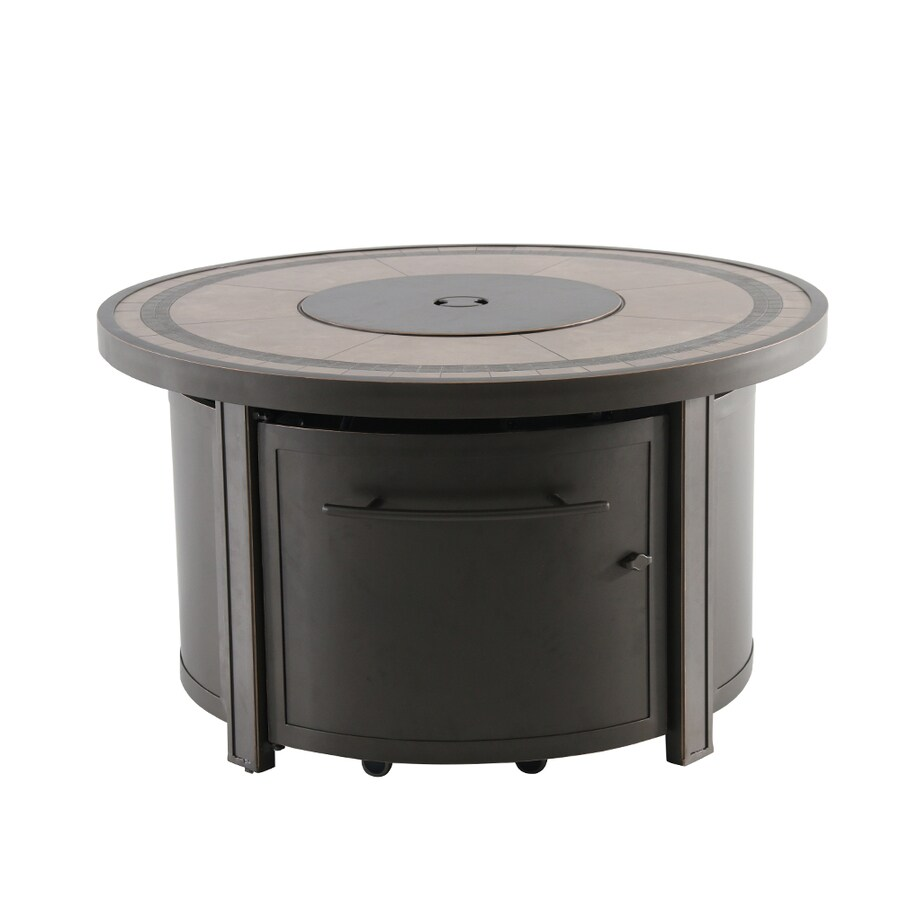 creative outdoor solutions 44 in w 55000 btu brown tabletop aluminum propane gas fire