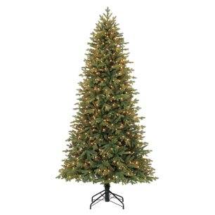 Holiday Living 7.5-ft Pre-lit Norway Spruce Slim Artificial Christmas Tree with 500 Constant White Clear Incandescent Lights