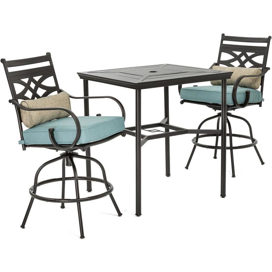hanover montclair 3 piece brown frame bar height patio set with ocean blue hanover cushion s included bar height