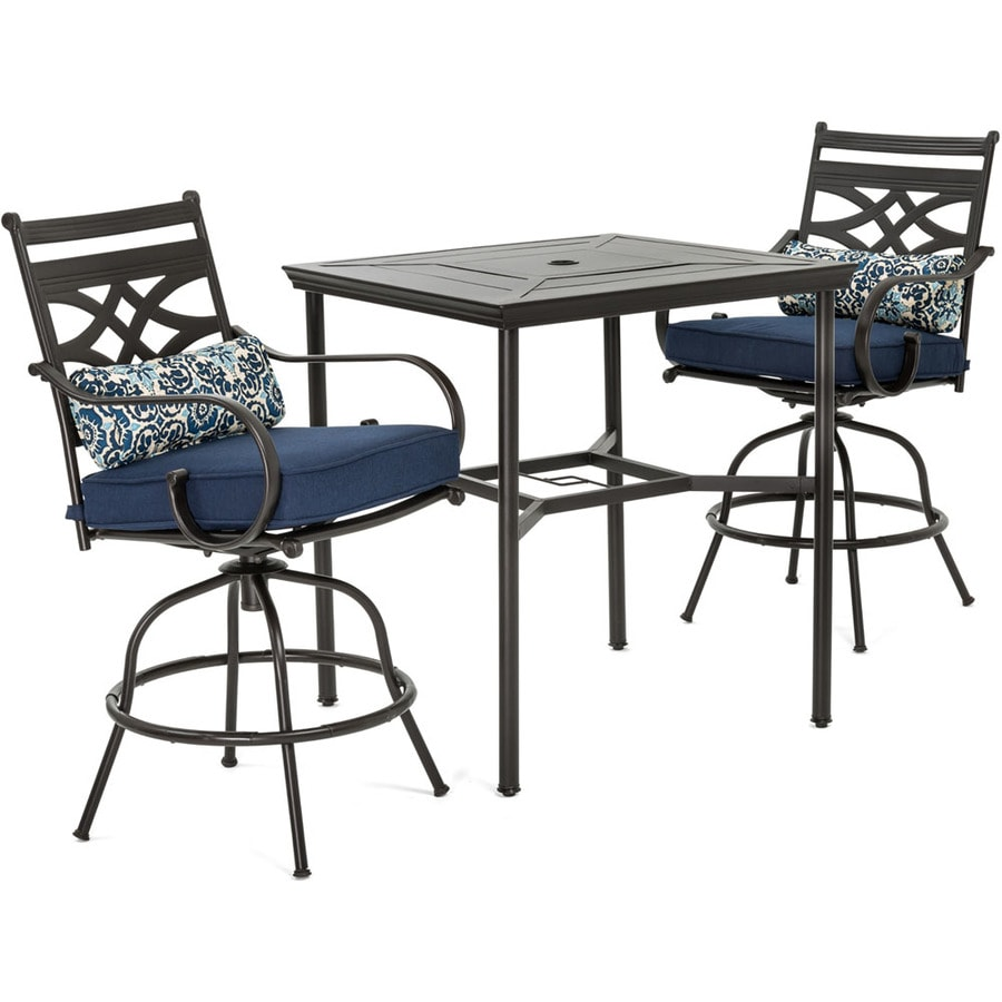 https www lowes com pd hanover montclair 3 piece brown frame bar height patio set with navy blue cushions bar height 1000701742