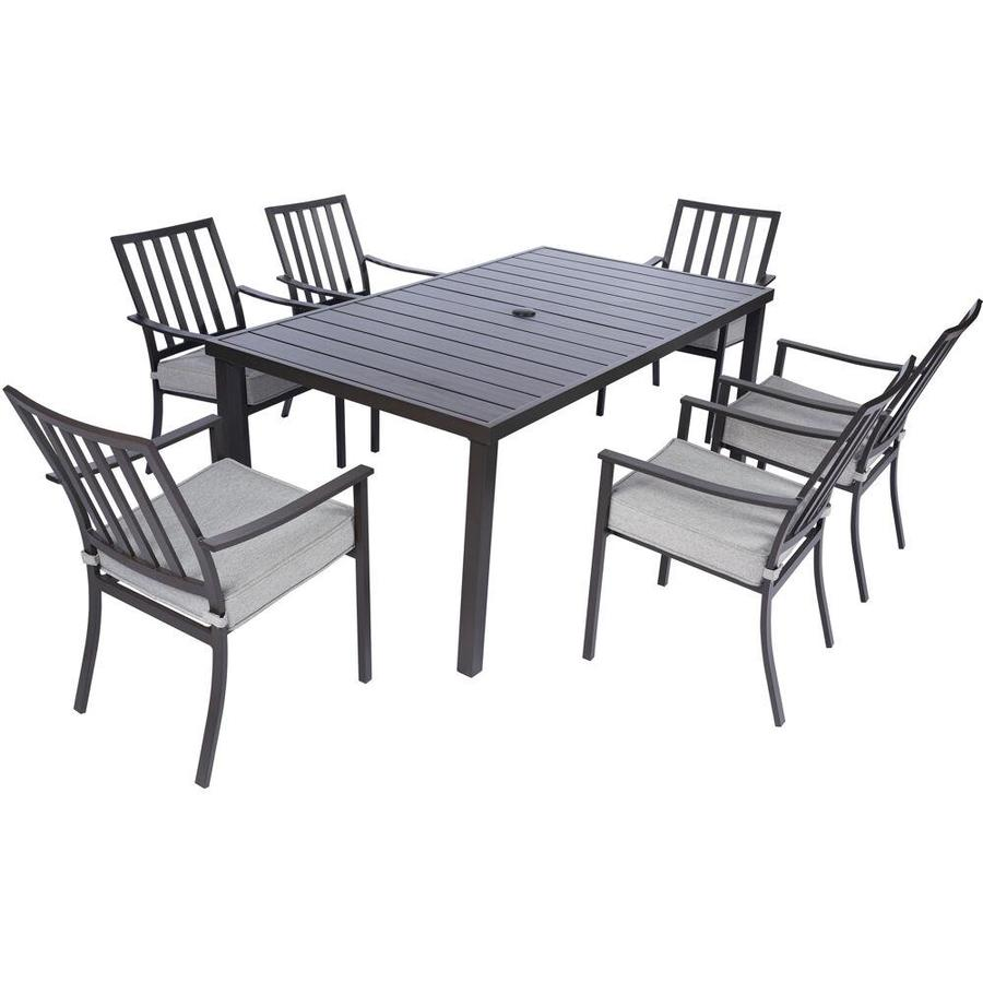 mod furniture carter 7 piece frame patio set with black grey mod furniture cushion s included