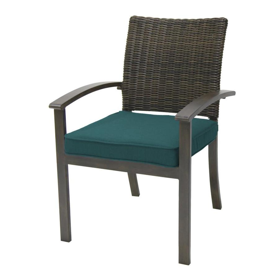 allen roth everett manor set of 4 wicker stackable dark brown metal frame stationary dining chair s with peacock blue cushioned seat