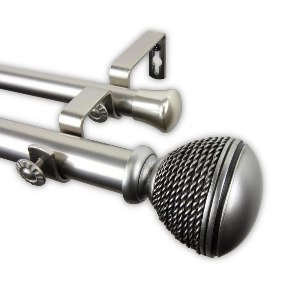 hart harlow rope 1 in 120 in to 170 in satin nickel steel double curtain rod