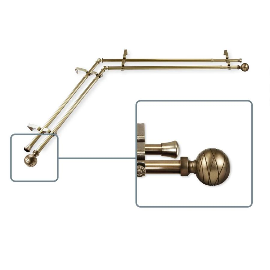 hart harlow able 13 16 in double 120 in to 170 in antique brass steel corner curtain rod in the curtain rods department at lowes com