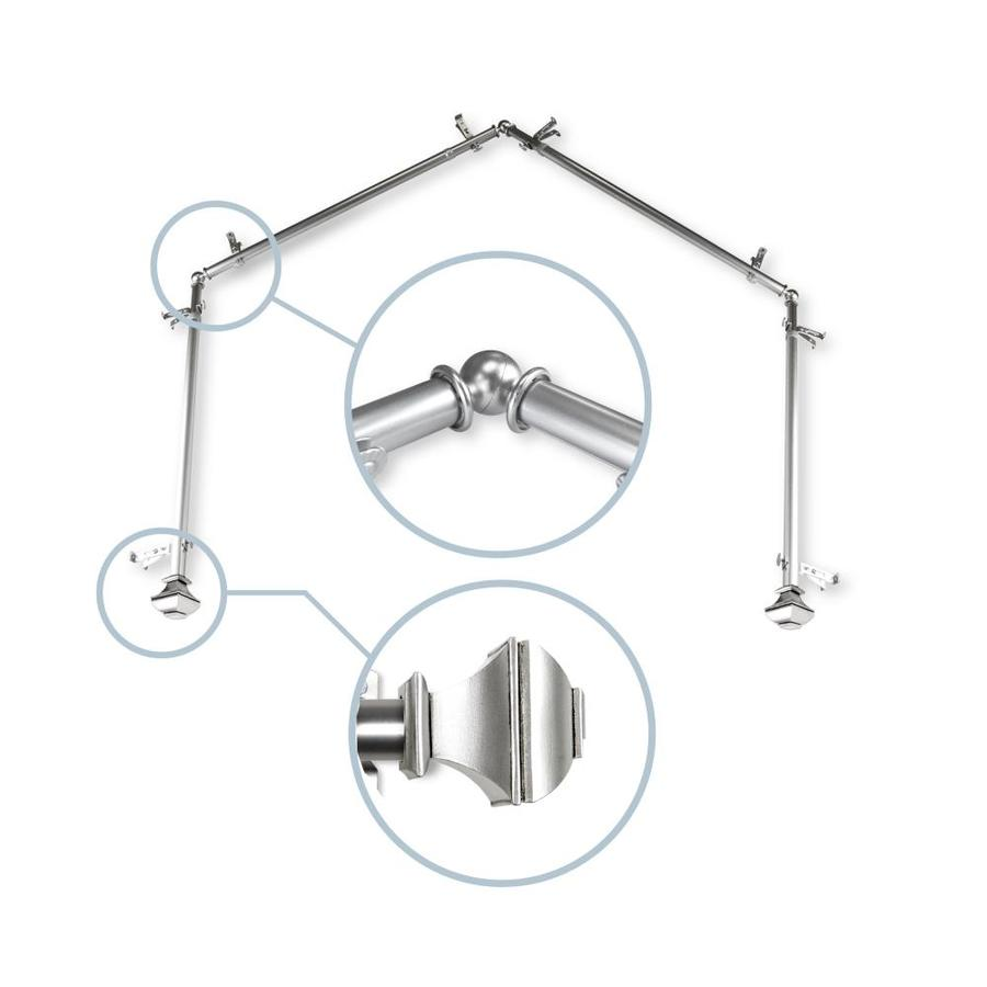 hart harlow pandora 13 16 in 4 sided 28 in to 48 in satin nickel steel bay window curtain rod in the curtain rods department at lowes com