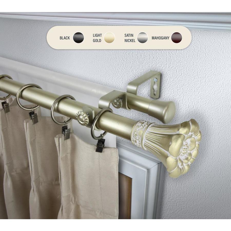 hart harlow 1 in gabrielle 66 in to 120 in light gold steel double curtain rod in the curtain rods department at lowes com
