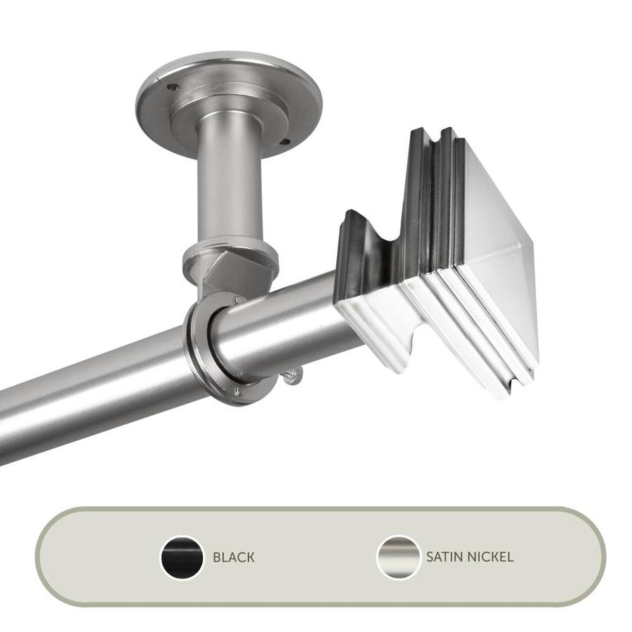 hart harlow 1 in serenity ceiling 66 in to 120 in satin nickel steel single curtain rod in the curtain rods department at lowes com