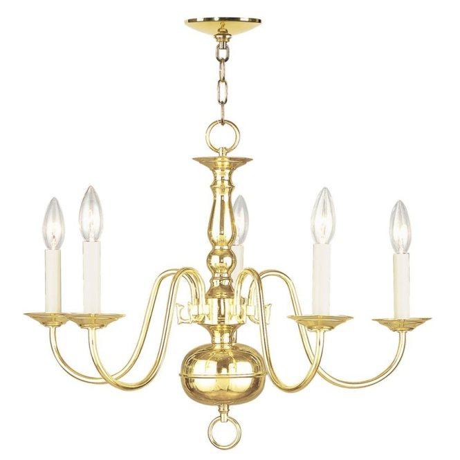 Livex Lighting Williamsburg 24 In 5 Light Polished Brass Candle Chandelier