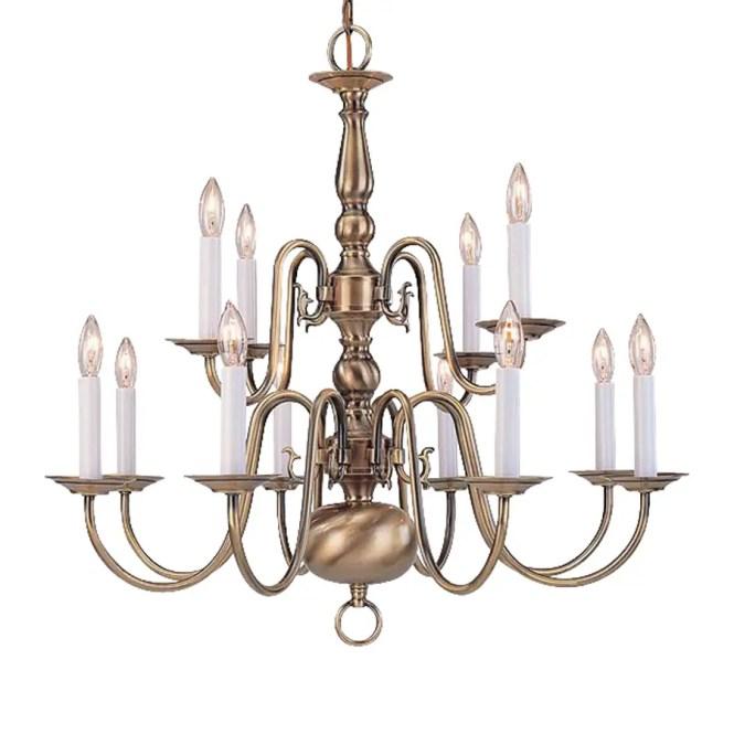 Livex Lighting Williamsburg 26 In 12 Light Antique Brass Candle Chandelier