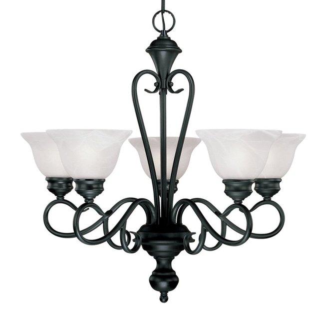 Millennium Lighting Devonshire 25 5 In Light Black Wrought Iron Alabaster Glass Shaded Chandelier
