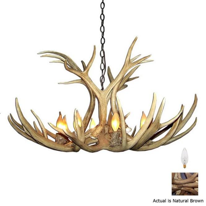 Canadian Antler Design Mule Deer 40 In 9 Light Natural Brown Rustic Abstract Chandelier