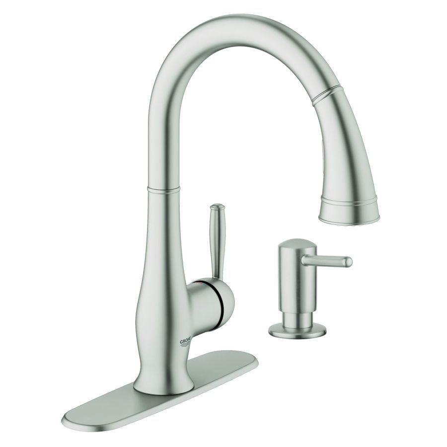 https www lowes com pd grohe wexford supersteel infinity 1 handle pull down kitchen faucet 999930268
