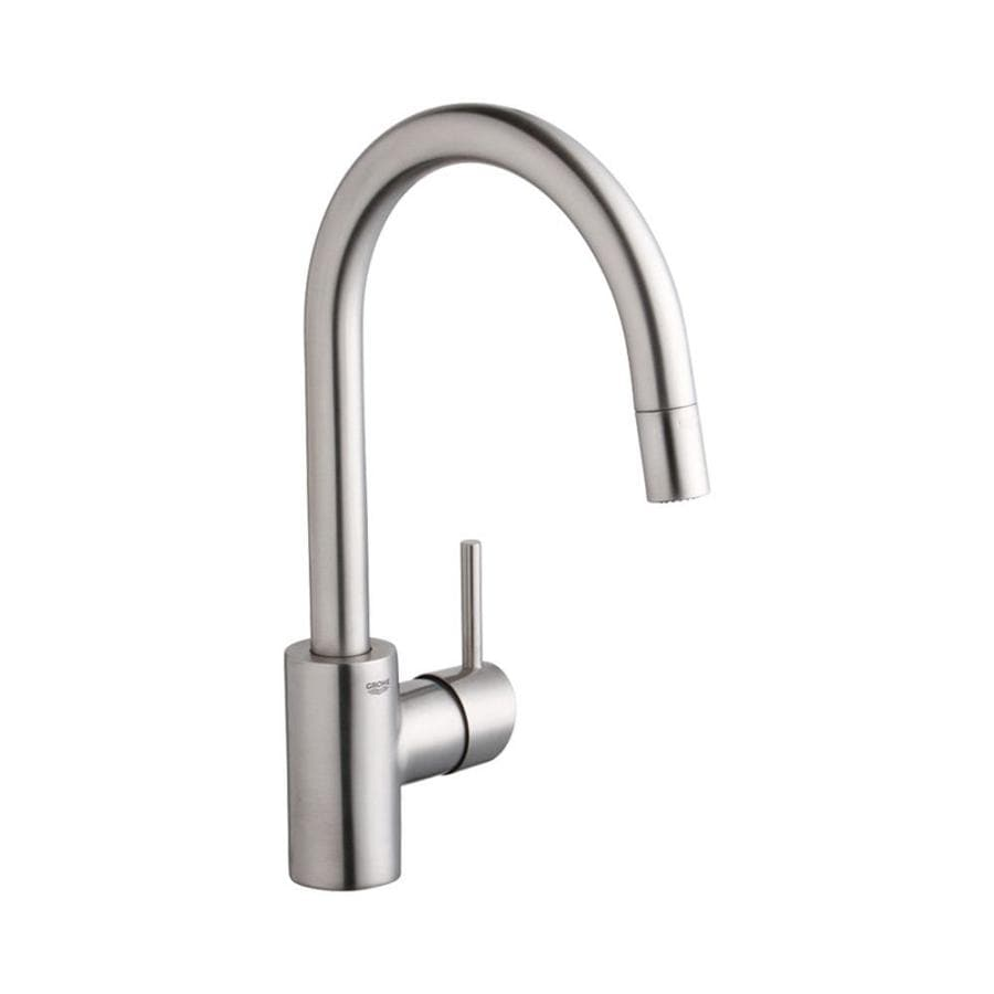 grohe concetto supersteel infinity 1 handle deck mount pull down residential kitchen faucet