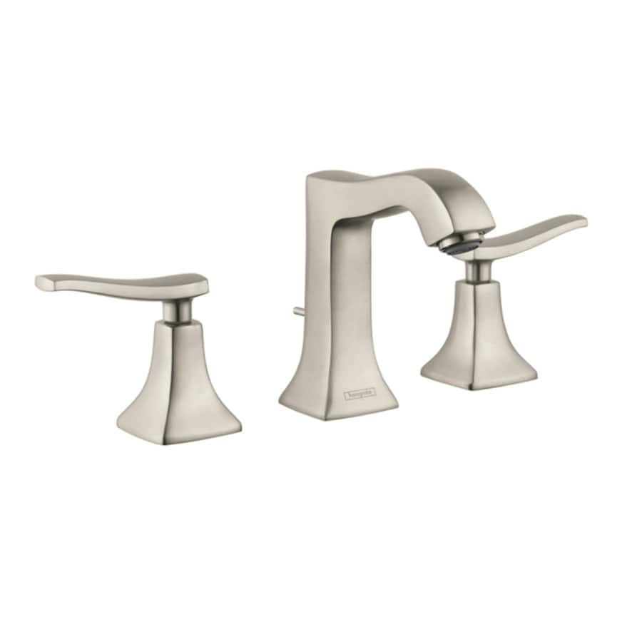 hansgrohe metris brushed nickel 2 handle widespread watersense bathroom sink faucet with drain