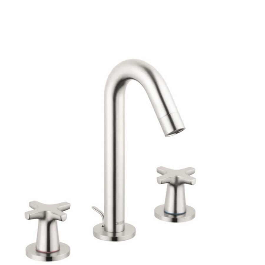 hansgrohe logis brushed nickel 2 handle widespread watersense bathroom sink faucet with drain