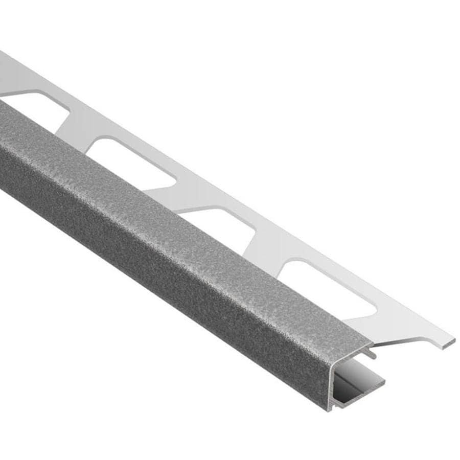 schluter systems quadec 0 375 in w x 98 5 in l pewter aluminum square edge tile edge trim