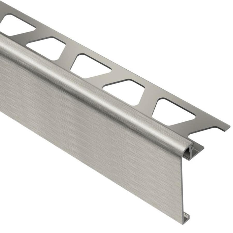schluter systems rondec step 0 375 in w x 98 5 in l brushed nickel aluminum step tile edge trim