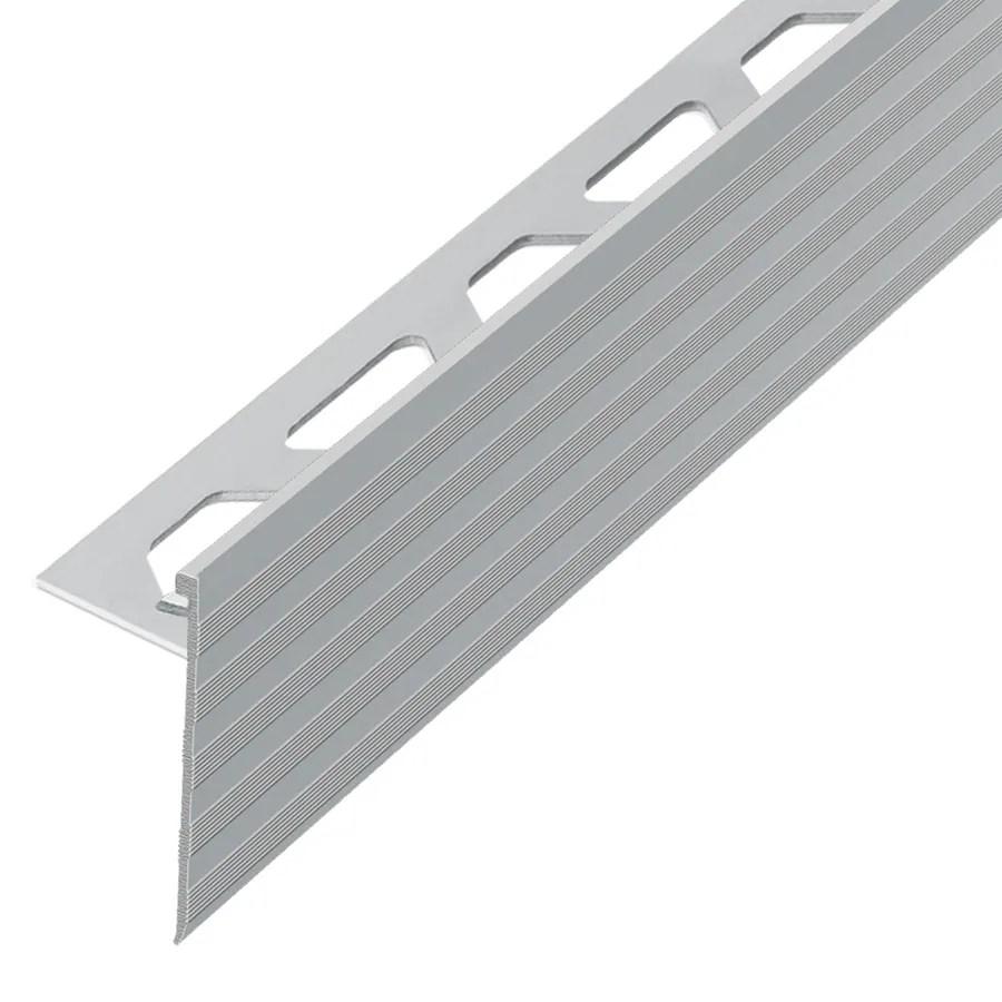schluter systems schiene step 0 375 in w x 98 5 in l satin nickel aluminum step tile edge trim