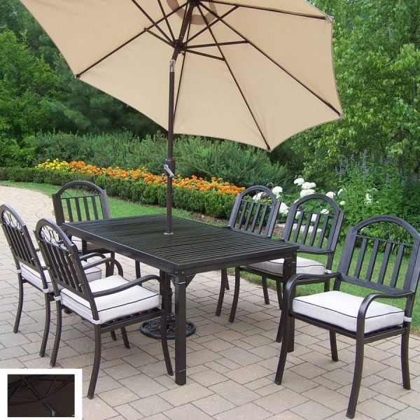 wrought iron patio dining sets Oakland Living 7-Piece Cushioned Wrought Iron Patio Dining