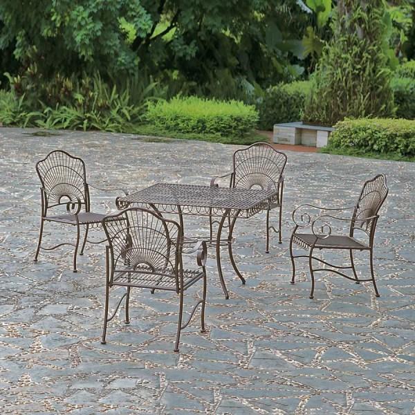 wrought iron patio dining sets Shop International Caravan Sun Ray 5-Piece Hammered Bronze