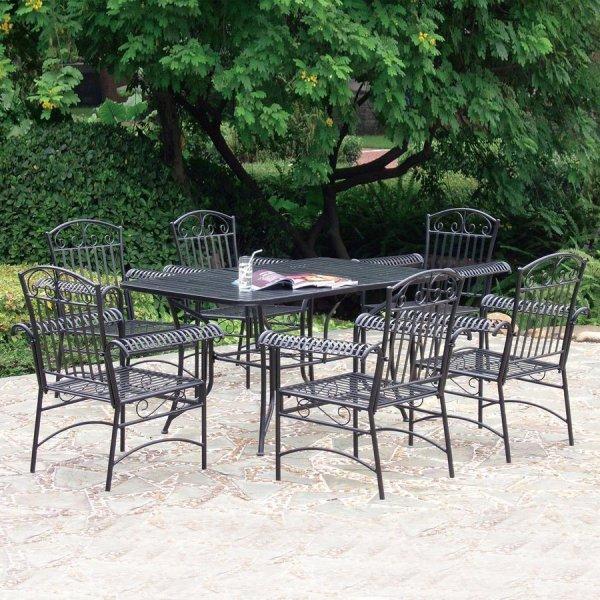 wrought iron patio dining sets International Caravan Tropico 7-Piece Wrought Iron Patio