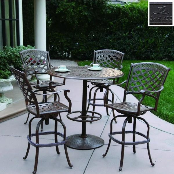 5 piece outdoor patio bar set Darlee 5-Piece Sedona Cast Aluminum Patio Bar-Height Set