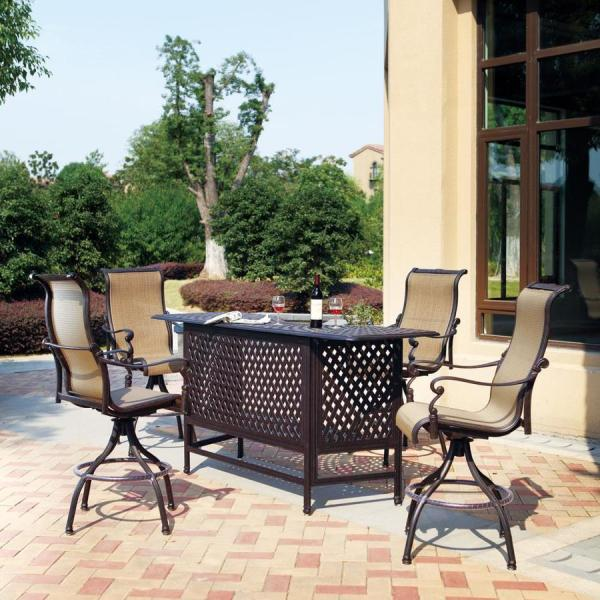 5 piece outdoor patio bar set Darlee Monterey Bay 5-Piece Antique Bronze Aluminum Bar