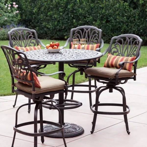 5 piece outdoor patio bar set Darlee Elisabeth 5-Piece Antique Bronze Aluminum Bar Patio
