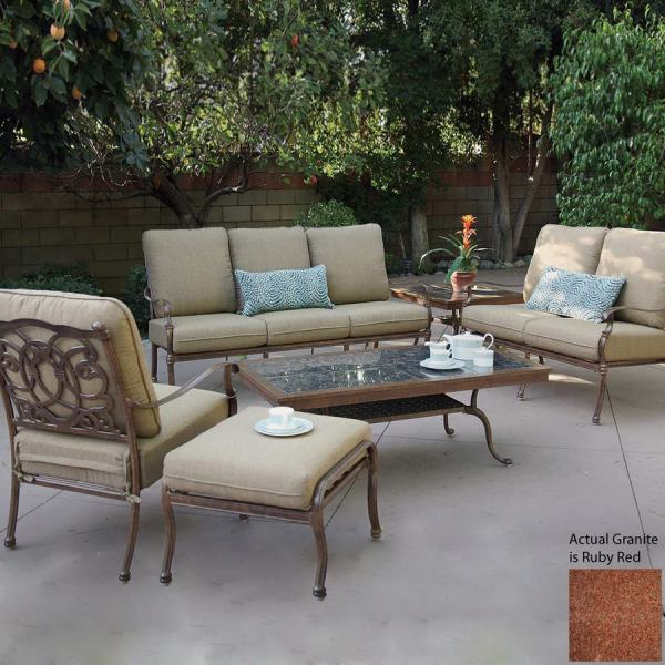 outdoor conversation sets patio furniture Shop Darlee Florence 6-Piece Aluminum Patio Conversation