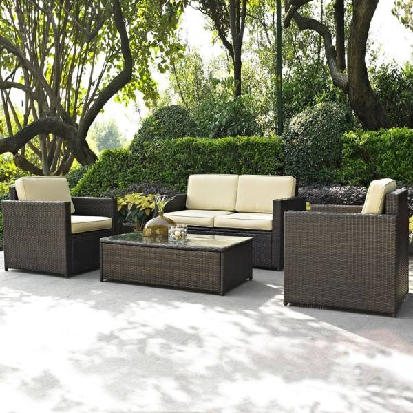 lowes patio furniture sets Shop Crosley Furniture Palm Harbor 4-Piece Wicker Patio
