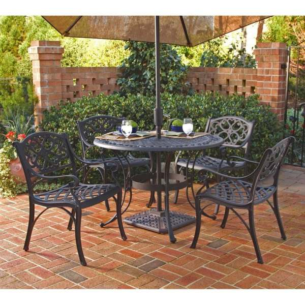 metal patio furniture Home Styles Biscayne 5-Piece Black Metal Frame Patio