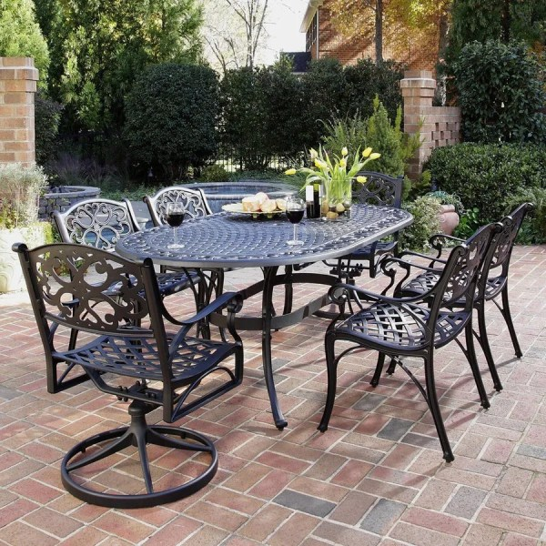 Shop Home Styles Biscayne 7 Piece Black Metal Frame Patio Dining Set     Home Styles Biscayne 7 Piece Black Metal Frame Patio Dining Set