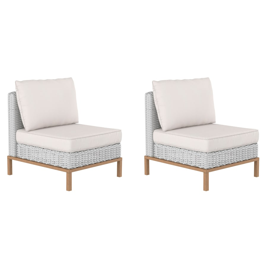 allen roth veda springs set of 2 wicker brown metal frame stationary conversation chair s with off white cushioned seat