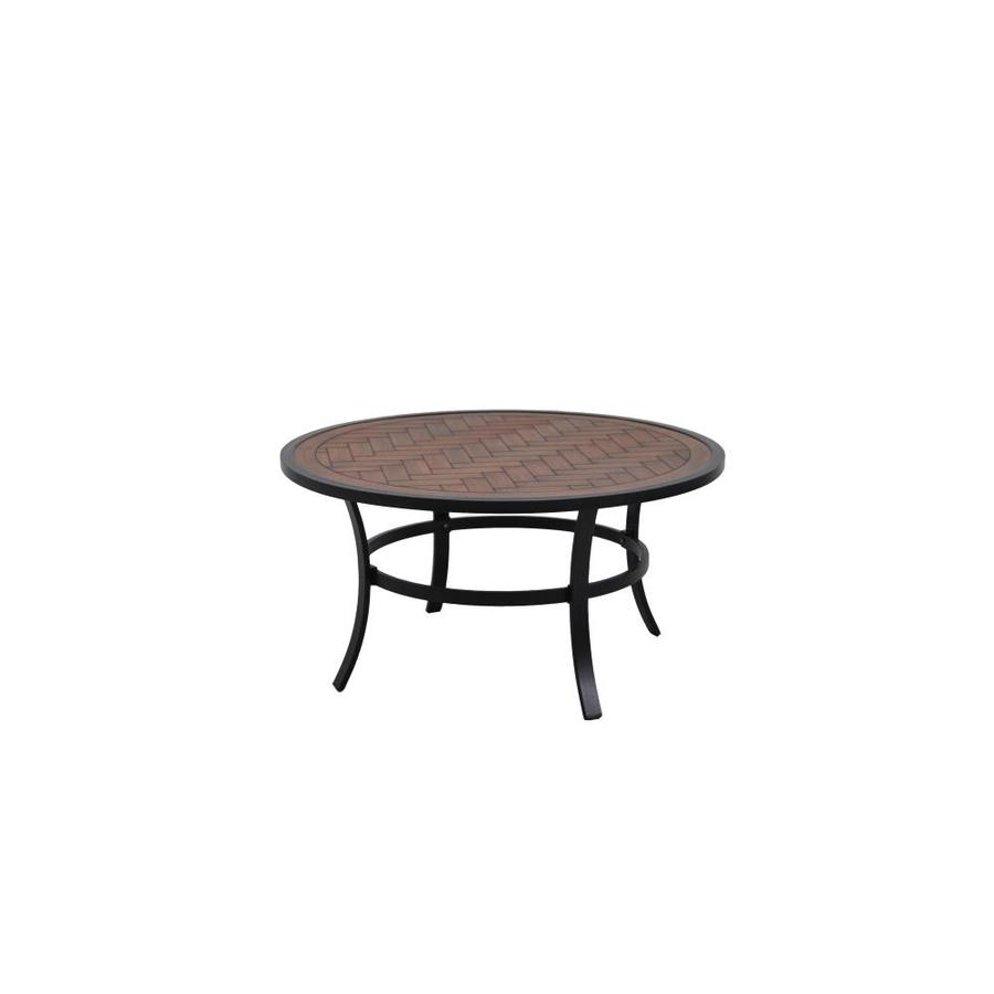 allen roth round outdoor coffee table 38 in w x 38 in l with