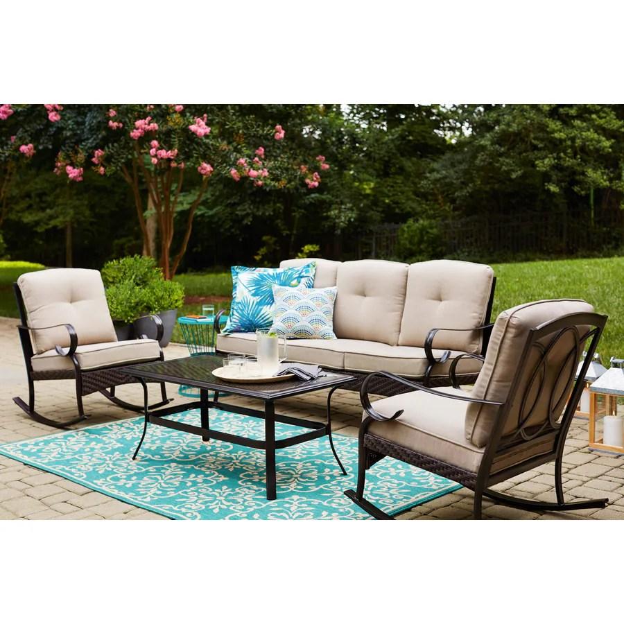 garden treasures arbington 4 piece metal frame patio conversation set with cushion s included lowes com
