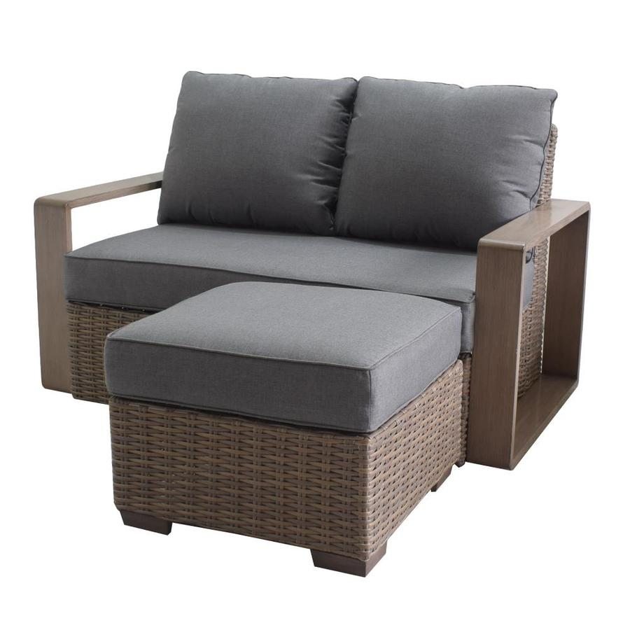 allen roth wilmington woven outdoor loveseat with cushion s and gray steel frame