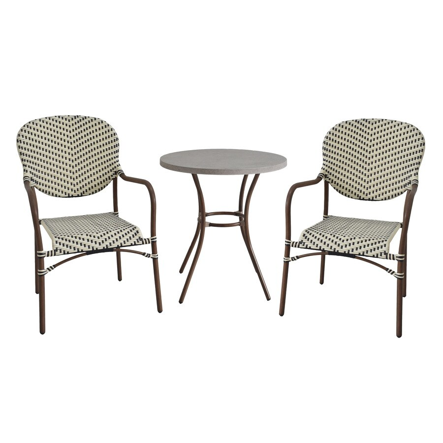 style selections yorkfaire 3 piece brown frame bistro patio set with bistro lowes com