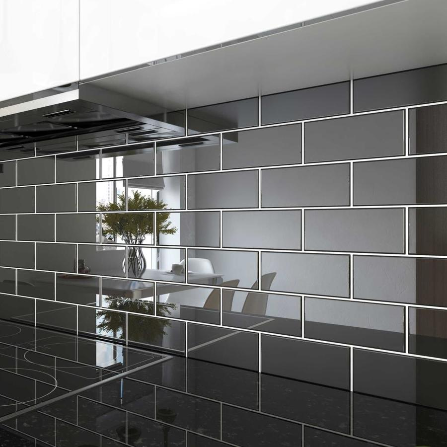 giorbello 3x6 glass subway tiles 40 pack black 3 in x 6 in glossy glass subway wall tile
