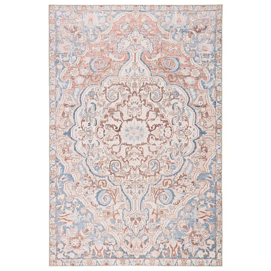 chatra 8 x 10 blue light pink indoor outdoor medallion vintage area rug