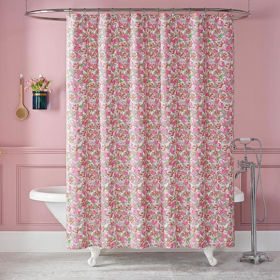 westpoint home 72 in x 72 in cotton pink floral shower curtain lowes com