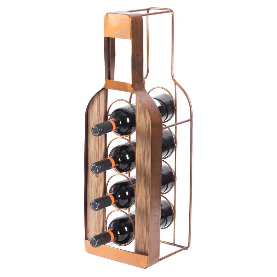 vintiquewise 4 bottle brown metal metal wine rack