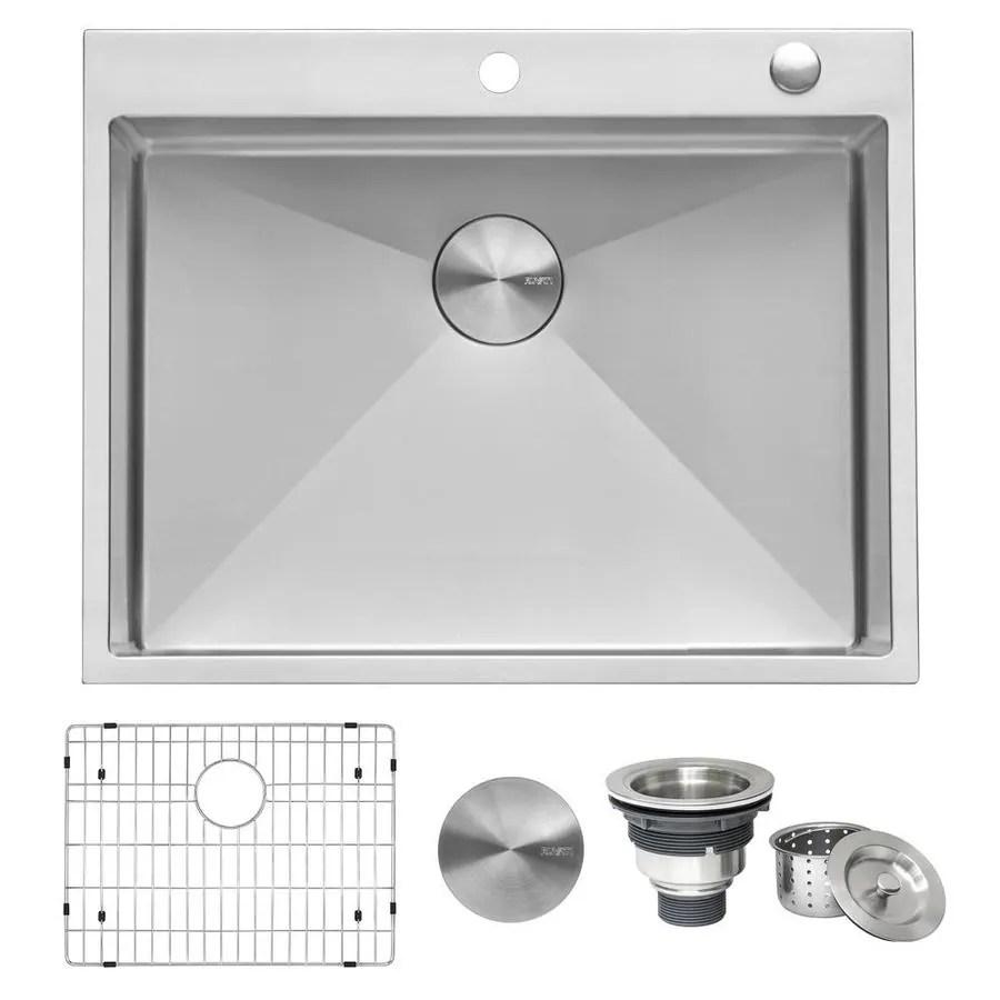 ruvati tirana drop in 28 in x 22 in stainless steel single bowl 2 hole kitchen sink